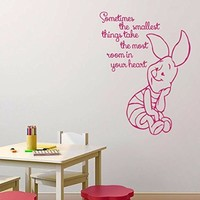 Wall Decals Quote Sometimes The Smallest Things Decal Piglet Vinyl Sticker Family Bedroom Nursery Baby Room Home Decor Ms321