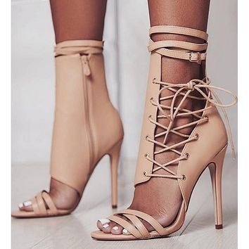 Strappy Leather Fashion Women Sandals High Heels Shoes
