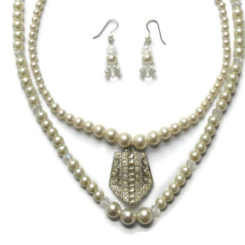 Double Strand Faux Pearl and Crystal Necklace and Earring Set, Bridal Jewelry
