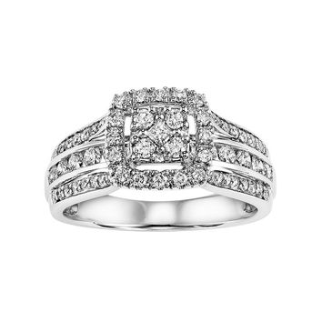 Cherish Always Certified Diamond Halo Multirow Engagement Ring in 10k White Gold (5/8 Carat T.W.)