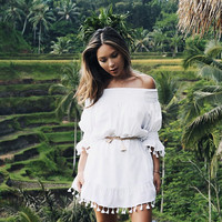 Mimi Tassel Dress - Boho Dress - White Cotton Tassel - Off Shoulder Dress - Code: KH006 (A)