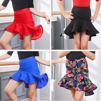 Girls Ballroom Salsa Cha Cha Dance Competition Costume Latin Skirt for Kid Dancing Clothing Clothes Wear with Underpants