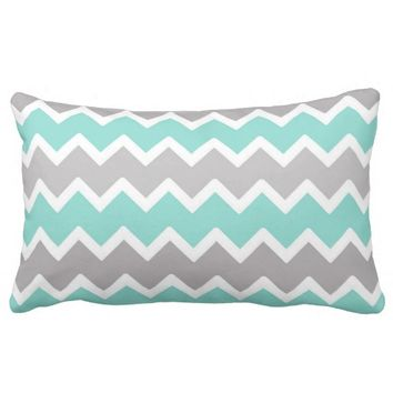 Aqua Blue Gray Grey Chevron Print Pattern Girl Lumbar Pillow