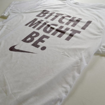NIKE TRAP PARODY gucci mayne geeked up internet stoner weed rare bitch i might be tumblr drank 90s rap hip hop rolling molly T-shirt