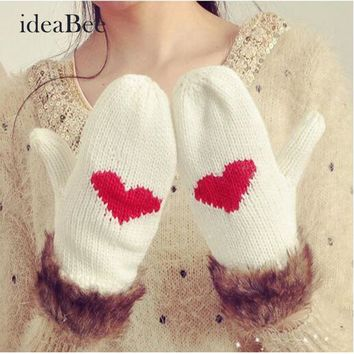 ideacherry Women Girls Knitted Gloves With Love Pattern Wool Hand Wrist Mittens Winter Double-thick Warm Gloves Free Shipping