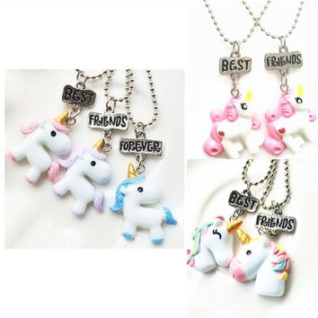 Hot 2/3 PCS   New Arrive Bff My Little Unicorn Pendant Necklace Best Friends BFF Bead Chain Necklace Jewelry