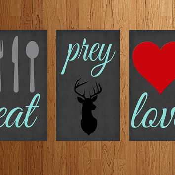 Custom Aluminum Eat Prey Love Sign (Set of 3) Plaque Kitchen Hunting Outdoorsman Decor Rustic Country Primitive Man Cave Cabin Gift Sign Art