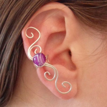 Spiral Ear cuff Sterling Silver 925 with purple and white Agate Onyx bead. Gemstone. Wire Wrapped.