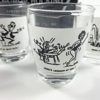 NIB Vintage Anchor Hocking Shot Glass Set Funny Shot Glasses 1960s Mid Century Shot Glass Black White Glasses Cocktail Barware Gift For Men