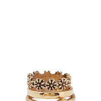 FOREVER 21 Faux Stone Midi Ring Set Antic Gold