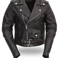 First Classics Women's Classic Motorcycle Leather Jacket. Quilted Liner. FML137CRP