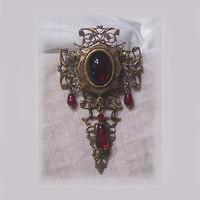 Reserved for Gala - Garnet Ruby Red Glass Jewel Filigree Cross V Articulated Tear Drop Brooch Pendant VICTORIAN VAMPIRE GOTHIC Edwardian