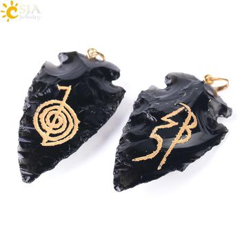 CSJA Yoga Meditation Jewellery for Men & Women Cho Ku Rei OM AUM Natural Stone Pendant Black Obsidian Reiki Chakra Jewelry F394