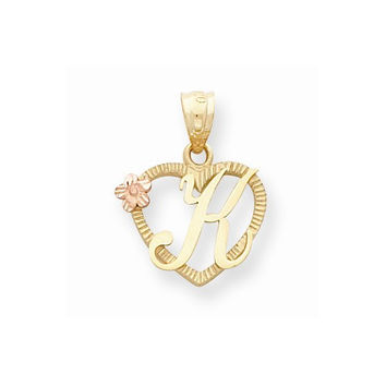 14k Two-tone Gold Initial K in Heart Charm