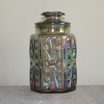 Imperial Glass Atterbury Scroll iridescent carnival glass canister jar with lid, vintage kitchen storage, kitchen decor, cookie jar