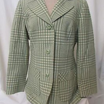 Vintage Pendleton Pure Virgin Wool Coat Women's Size 14  Color Green/White