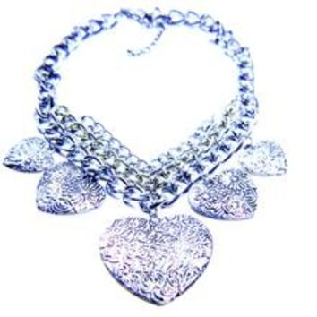Heart Flower Chain Statement Necklace