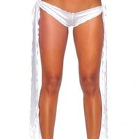 iHeartRaves Ribbon Tie Rave Shorts (White)