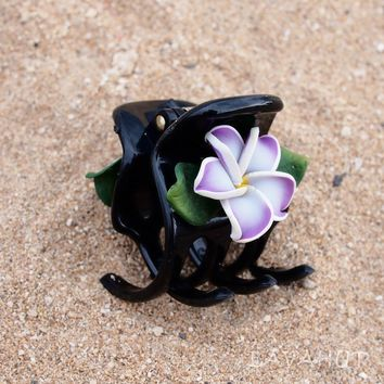 Plumeria Purple Hawaiian Flower Hair Claw