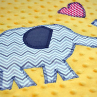 Elephant parade baby blanket with pink hearts, car seat blanket, receiving blanket, travel blanket