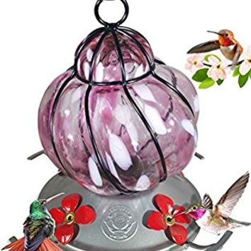 Grateful Gnome - Hummingbird Feeder - Hand Blown Glass - Caged Pink Flower