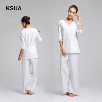 Yoga Set Linen Yoga Shirt Pants Zen Meditation Clothing Woman Sportswear Set Large Size Gym Yoga Suit Shirt Pants Tracksuit
