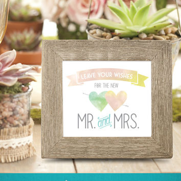 Wedding Guestbook Sign . Leave Your Wishes for the new Mr and Mrs . Sign our guestbook . outdoor wedding sign . Custom Watercolor Sign . PDF