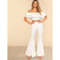 White Beading Detail Layered Bardot Top and Pants Co-Ord