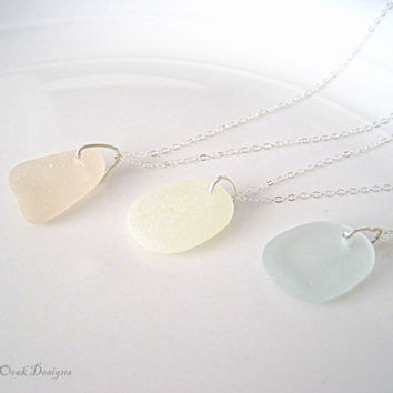 Beach Glass Necklace on Sterling Silver Chain , Sea Glass Necklace, Summer Fashion, Beach Glass , Bridesmaid Gifts,