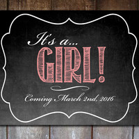 Editable Gender Reveal Announcement  It's A Girl / 8x10 Chalkboard Digital Printable PDF