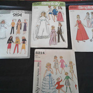 Four (4) Vintage Doll Patterns - Simplicity - See Descriptions and Photos - Uncut & Unused