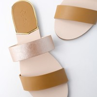 Leeanna Camel Slide Sandals