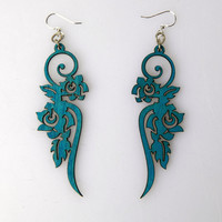Green Tree Ornament  Wood Earrings - Aqua