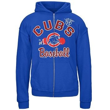 Chicago Cubs - Glitter Logo Girls Youth Zip Hoodie