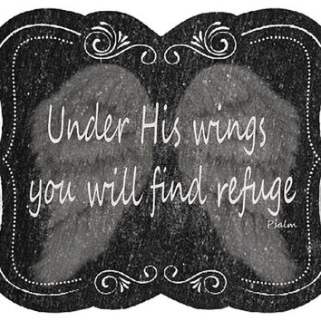 Psalm Quote Image, Bible Quote Image, Chalk Art Poster, Bible Quote Wall Décor, Kids Room Art, Nursery Room Art, Under His Wings Find Refuge