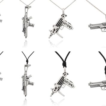 Machine Gun Silver Pewter Charm Necklace Pendant Jewelry