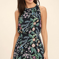 Take Me Oasis Black Floral Print Skater Dress