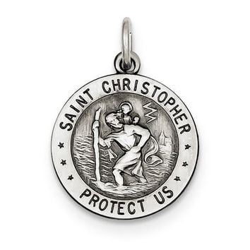 Sterling Silver St. Christopher US Marine Corp Medal Charm Pendant