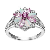 Gemstone Sterling Silver Flower Ring (Pink)