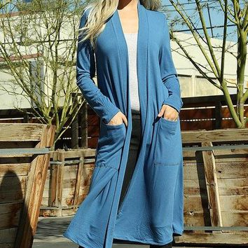Temperatures Dropping Long Blue Mist Cardigan Duster
