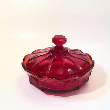 Fostoria Ruby Glass Candy Dish with Lid, Fostoria Coin Glass Covered Dish