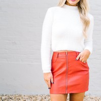 White Fuzzy Cropped Sweater - Thirty One Boutique