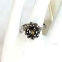Silver Cats Eye Ring Vintage Modernist Size 6.75
