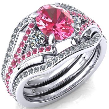 Arietis Oval Pink Sapphire Diamond Sides 3/4 Eternity Accent Pink Sapphire Ring