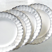 Vintage Sebring White Gold Ware Dinner Plates, Set of 4, Tea Party, Shabby Chic, Cottage Style, Ca. 1940's