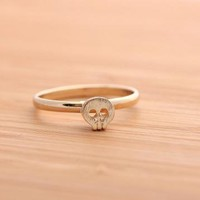 tiny SKULL ring in gold  by bythecoco on Zibbet