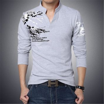 Printed Long Sleeve Men Shirt