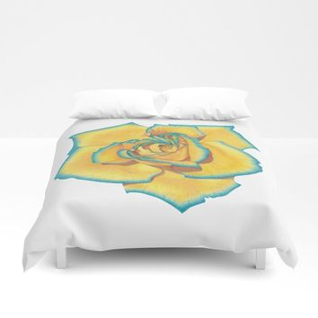 Yellow and Turquoise Rose Duvet Cover by drawingsbylam