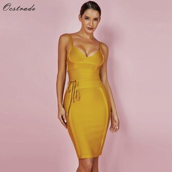 Ocstrade Women Bandage Dress 2018 Rayon Sleeveless Summer New Arrivals Sexy Deep v Neck Vestido Bodycon Bandage Dress Club Party