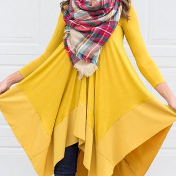 New Yellow Irregular Pleated Long Sleeve Round Neck Countryside Cowboy Casual Maxi Dress
